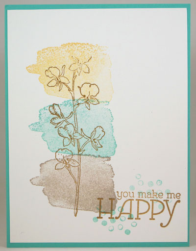 Happy Watercolor 3 Color Ca Stampin Up! Leadership 2014 Card Swaps