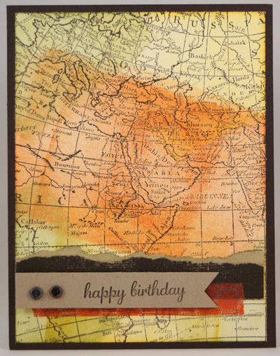 World Map Card Stampin Up! Leadership 2014 Card Swaps