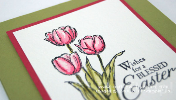 Blessed Easter Tulips Blessed Easter Card with Watercolor Paper Tips
