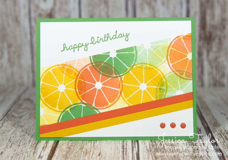 Angled Citrus Card with Apple of My Eye stamp set from Stampin' Up!