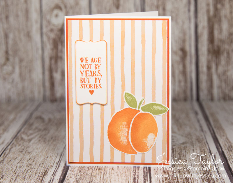 Peach Birthday Card with Fresh Fruit stamp set from Stampin' Up!