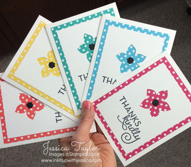 Polkda Dot Flower Thank You Cards
