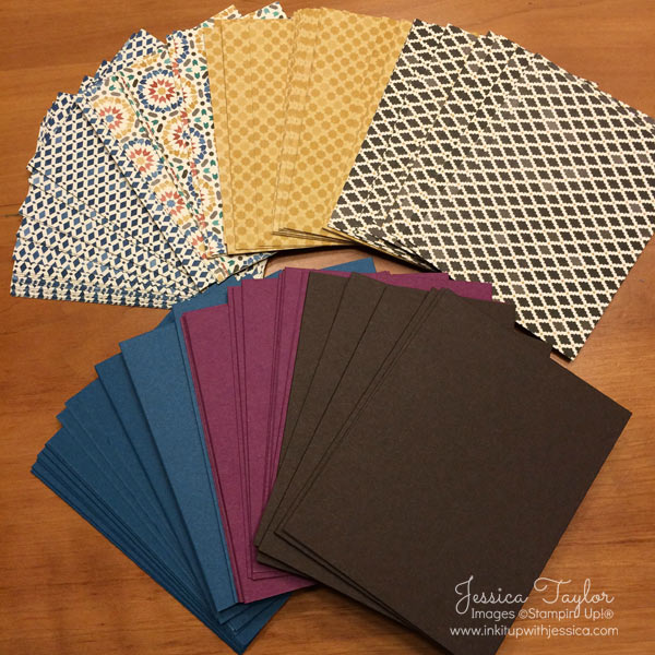 Moroccan Designer Series Paper from Stampin' Up! Cut for Quick Cards