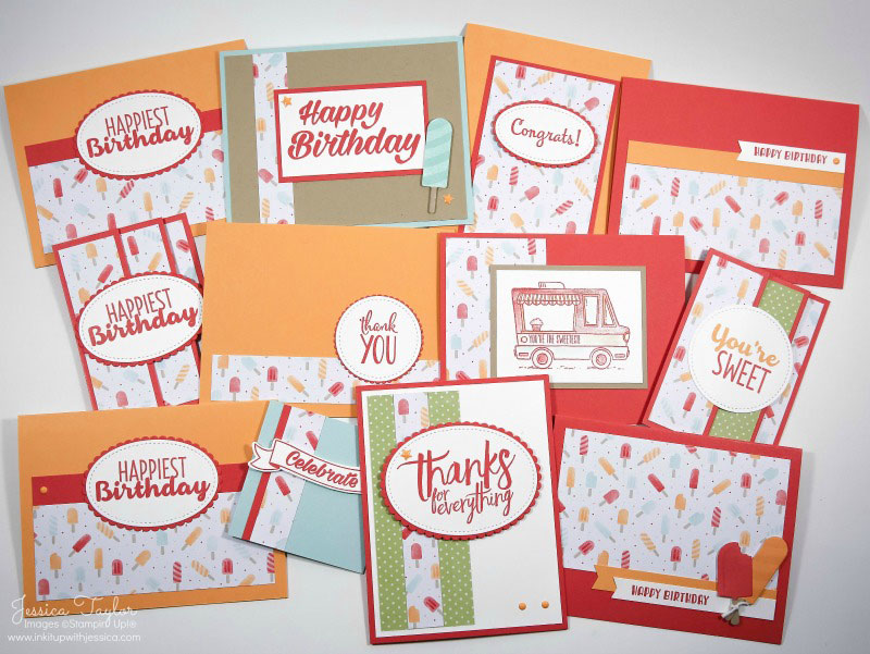 Popsicle Cards made with the March 2017 template
