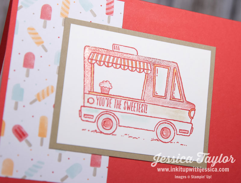 Tasty Trucks stamp set colored with Wink of Stella Glitter Pen